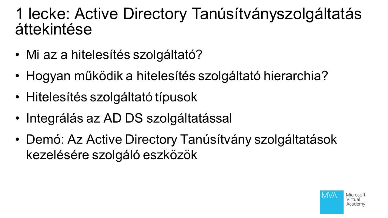 1 lecke: Active Directory Tanúsítványszolgáltatás áttekintése Mi az a hitelesítés szolgáltató? Hogyan működik a hitelesítés szolgáltató hierarchia? Hi
