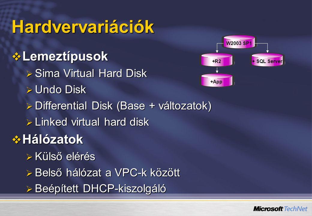 Hardvervariációk  Lemeztípusok  Sima Virtual Hard Disk  Undo Disk  Differential Disk (Base + változatok)  Linked virtual hard disk  Hálózatok  Külső elérés  Belső hálózat a VPC-k között  Beépített DHCP-kiszolgáló W2003 SP1+R2+ SQL Server+App
