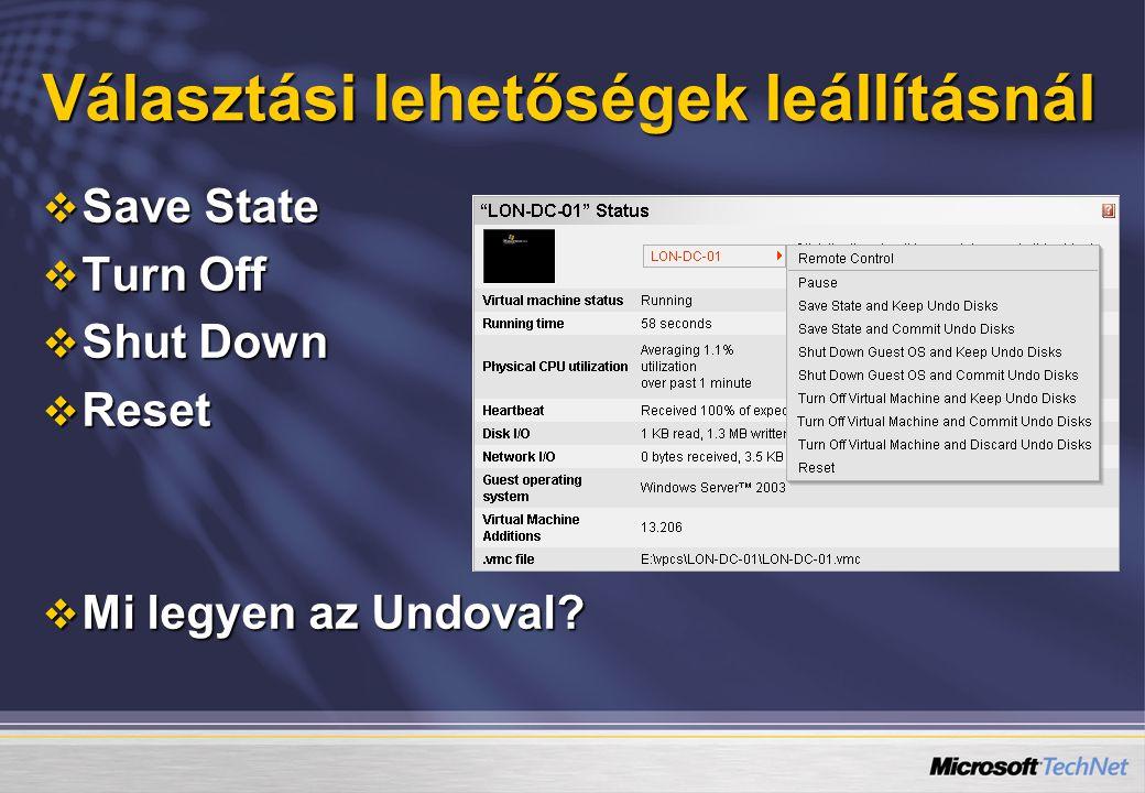 Választási lehetőségek leállításnál  Save State  Turn Off  Shut Down  Reset  Mi legyen az Undoval