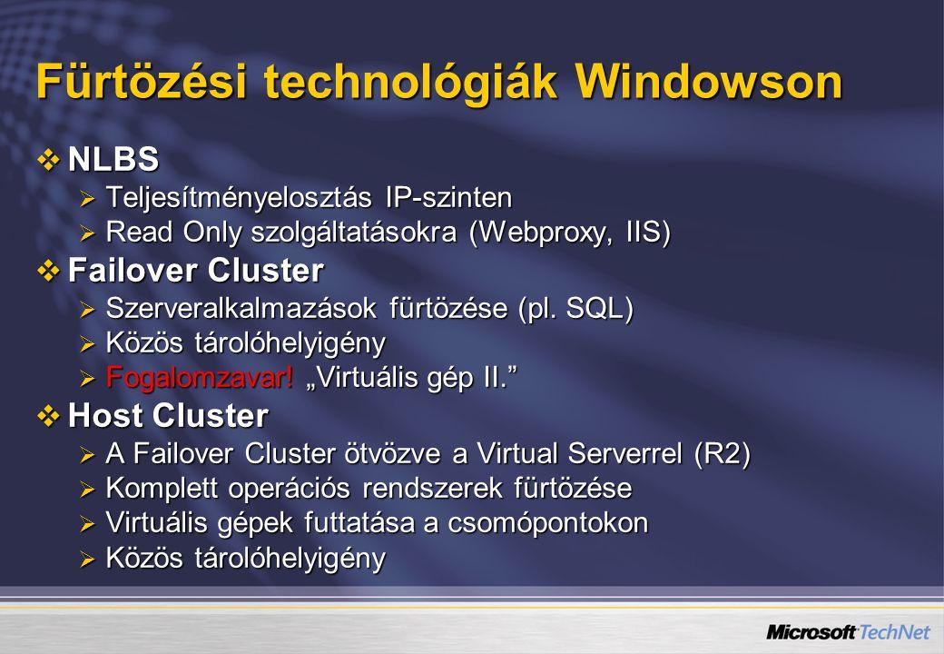 Fürtözési technológiák Windowson  NLBS  Teljesítményelosztás IP-szinten  Read Only szolgáltatásokra (Webproxy, IIS)  Failover Cluster  Szerveralkalmazások fürtözése (pl.