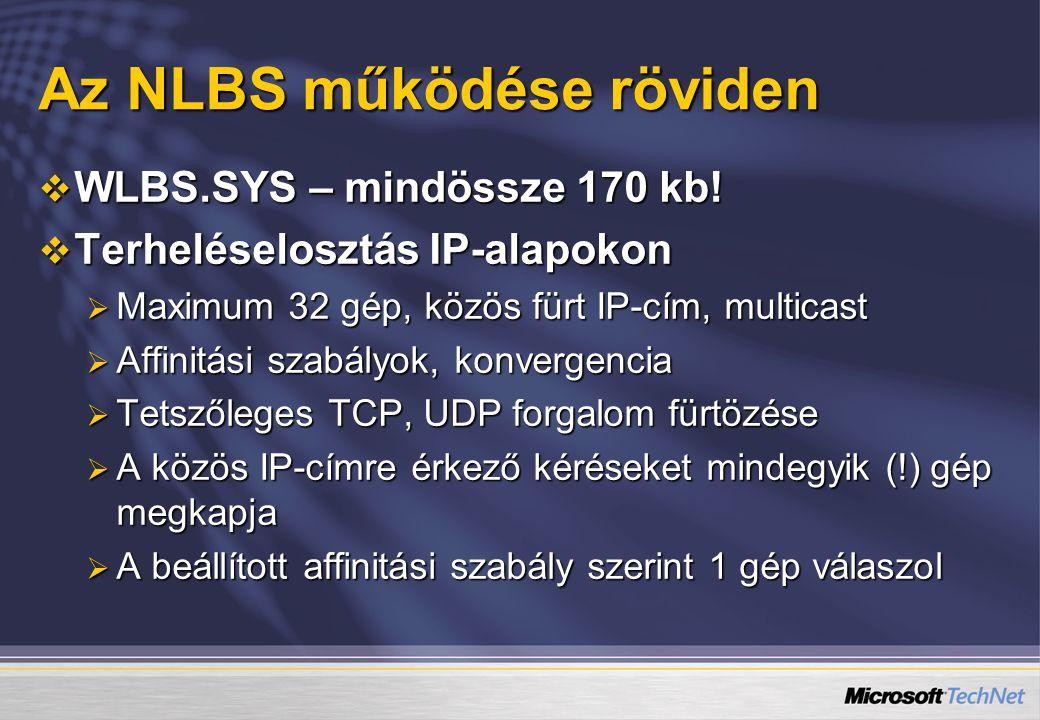Az NLBS működése röviden  WLBS.SYS – mindössze 170 kb.