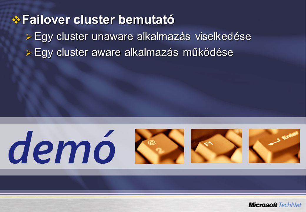 demó  Failover cluster bemutató  Egy cluster unaware alkalmazás viselkedése  Egy cluster aware alkalmazás működése
