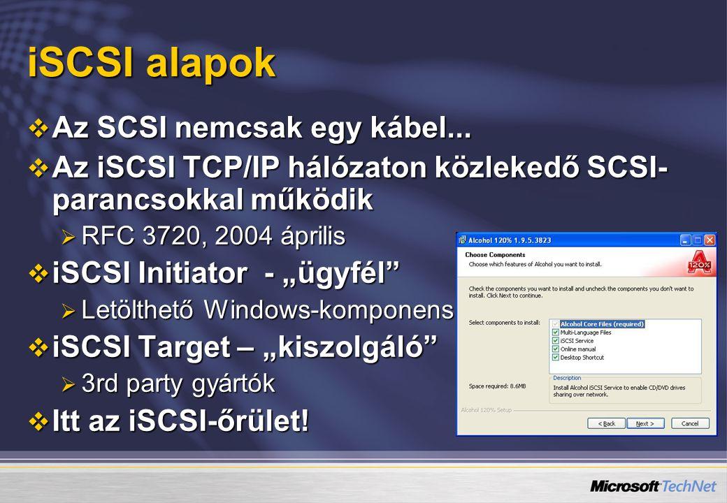 iSCSI alapok  Az SCSI nemcsak egy kábel...