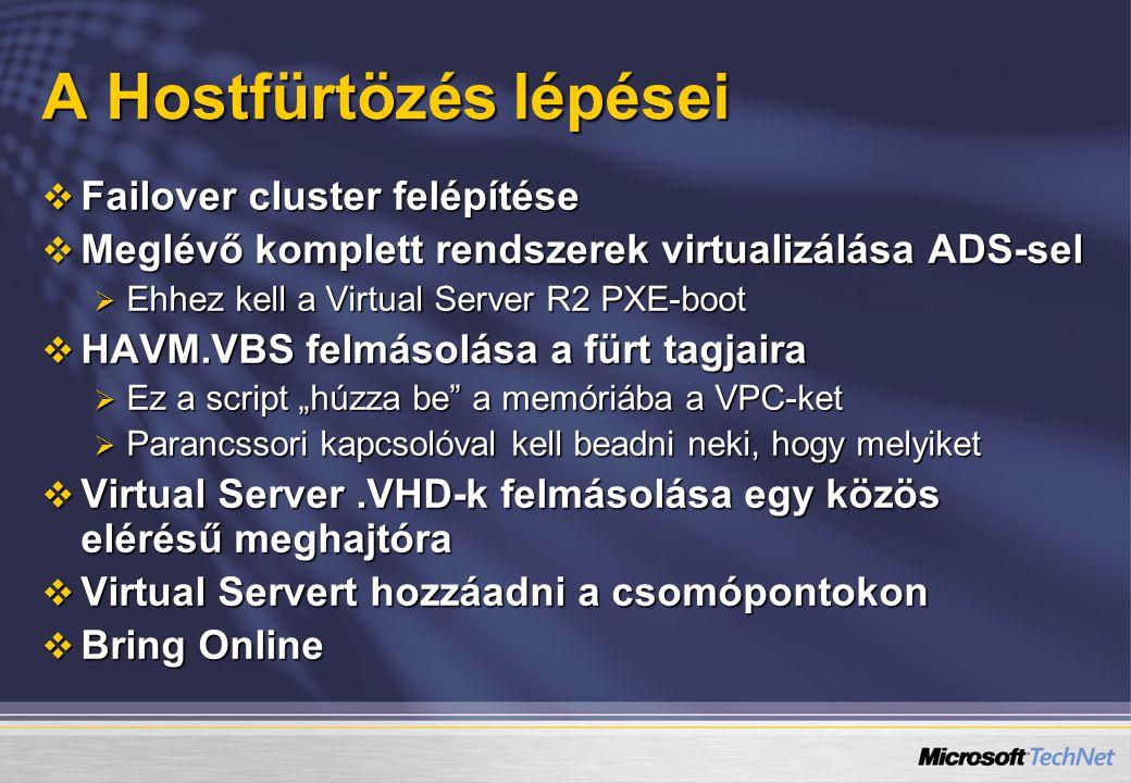 """ Failover cluster felépítése  Meglévő komplett rendszerek virtualizálása ADS-sel  Ehhez kell a Virtual Server R2 PXE-boot  HAVM.VBS felmásolása a fürt tagjaira  Ez a script """"húzza be a memóriába a VPC-ket  Parancssori kapcsolóval kell beadni neki, hogy melyiket  Virtual Server.VHD-k felmásolása egy közös elérésű meghajtóra  Virtual Servert hozzáadni a csomópontokon  Bring Online A Hostfürtözés lépései"""