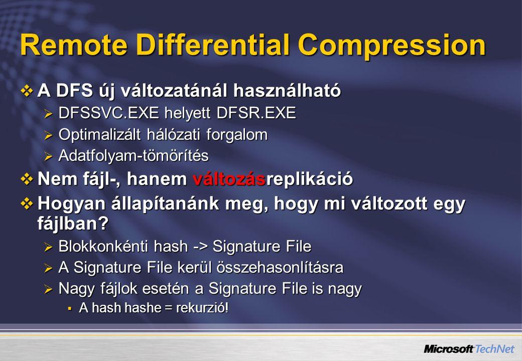 Remote Differential Compression  A DFS új változatánál használható  DFSSVC.EXE helyett DFSR.EXE  Optimalizált hálózati forgalom  Adatfolyam-tömörítés  Nem fájl-, hanem változásreplikáció  Hogyan állapítanánk meg, hogy mi változott egy fájlban.