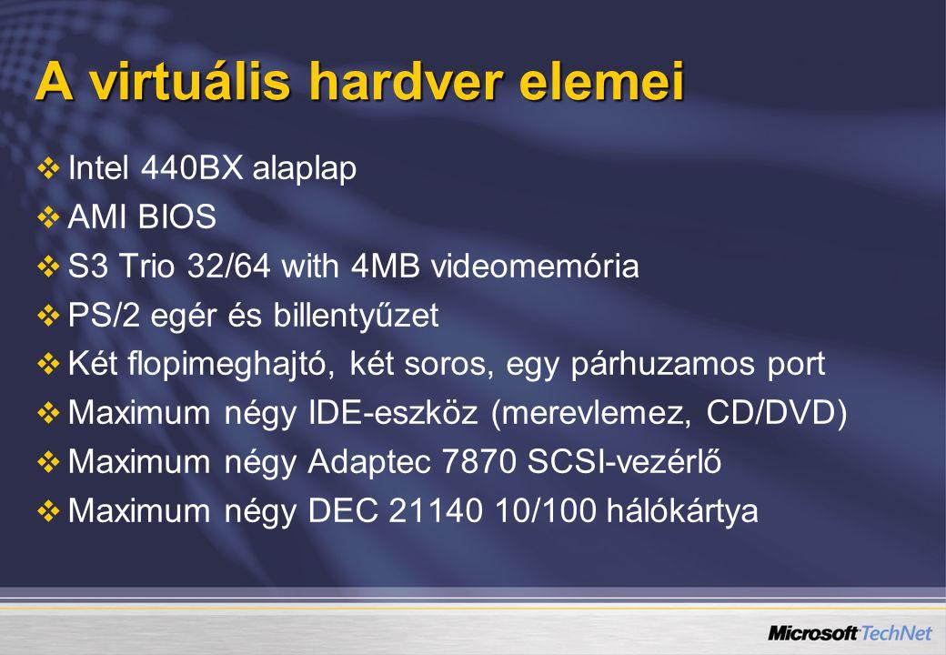 A virtuális hardver elemei   Intel 440BX alaplap   AMI BIOS   S3 Trio 32/64 with 4MB videomemória   PS/2 egér és billentyűzet   Két flopimeghajtó, két soros, egy párhuzamos port   Maximum négy IDE-eszköz (merevlemez, CD/DVD)   Maximum négy Adaptec 7870 SCSI-vezérlő   Maximum négy DEC 21140 10/100 hálókártya