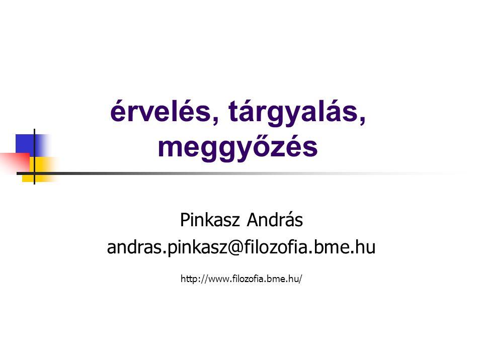 érvelés, tárgyalás, meggyőzés Pinkasz András andras.pinkasz@filozofia.bme.hu http://www.filozofia.bme.hu/