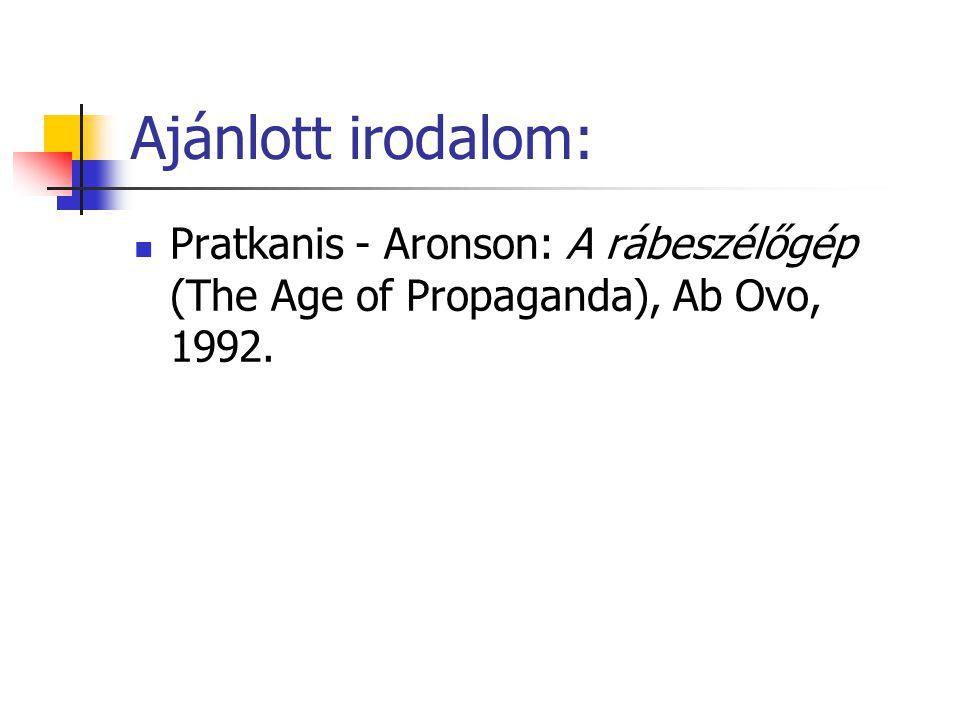 Ajánlott irodalom: Pratkanis - Aronson: A rábeszélőgép (The Age of Propaganda), Ab Ovo, 1992.