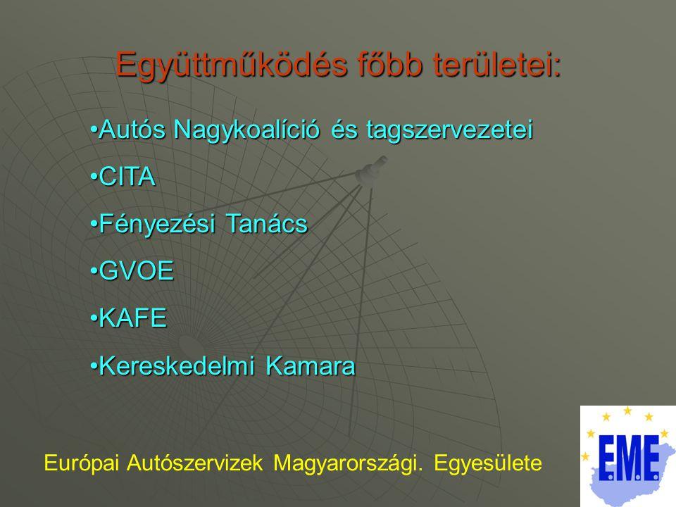 Együttműködés főbb területei: Európai Autószervizek Magyarországi.