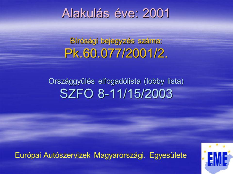 Alakulás éve: 2001 Bírósági bejegyzés száma: Pk.60.077/2001/2.