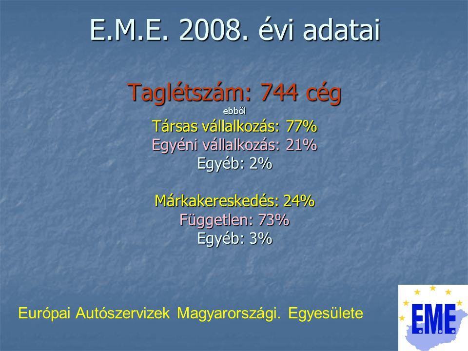 A TAGVÁLLALKOZÁSOK 75%-a hatósági tevékenységet is végez > műszaki megvizsgálást 377 cég > környezetvédelmi felülvizsgálatot 683 cég Európai Autószervizek Magyarországi.