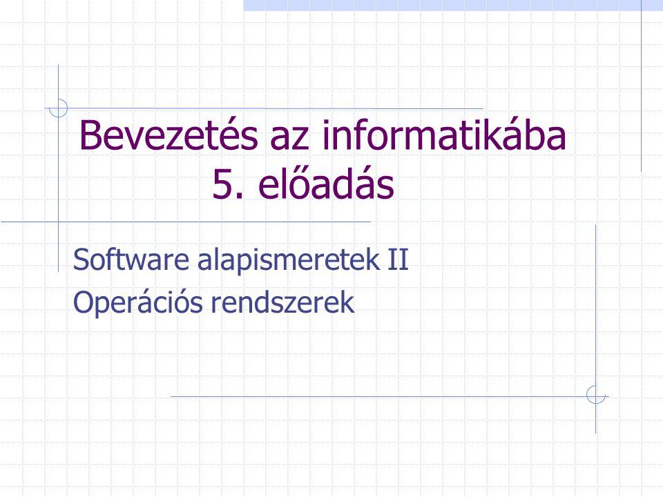 Bevezetés az informatikába 5. előadás Software alapismeretek II Operációs rendszerek