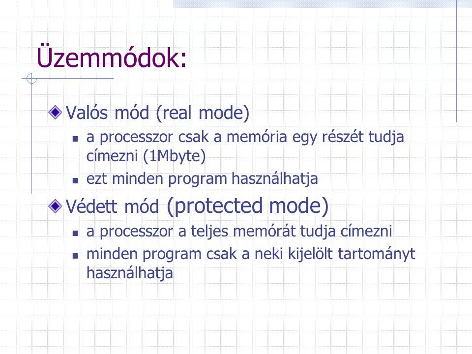 Üzemmódok: Valós mód (real mode) a processzor csak a memória egy részét tudja címezni (1Mbyte) ezt minden program használhatja Védett mód (protected m