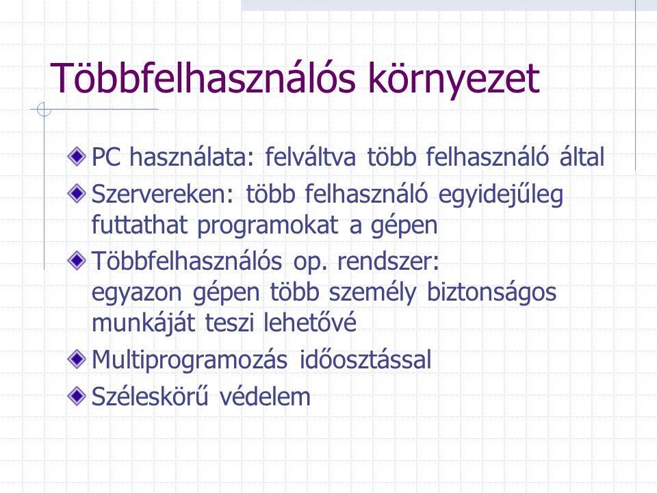 Többfelhasználós környezet PC használata: felváltva több felhasználó által Szervereken: több felhasználó egyidejűleg futtathat programokat a gépen Töb