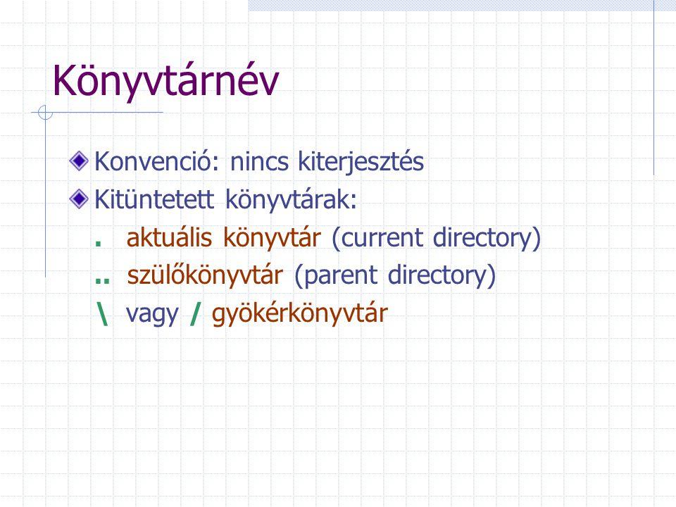 Könyvtárnév Konvenció: nincs kiterjesztés Kitüntetett könyvtárak:. aktuális könyvtár (current directory).. szülőkönyvtár (parent directory) \ vagy / g