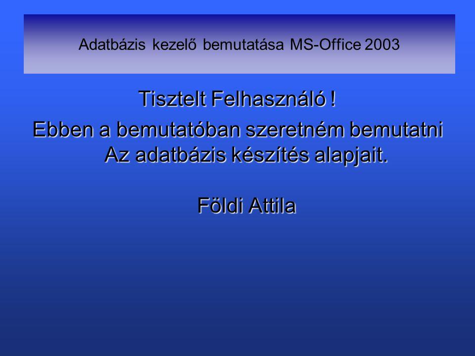 Adatbázis kezelő bemutatása MS-Office 2003 Tisztelt Felhasználó .