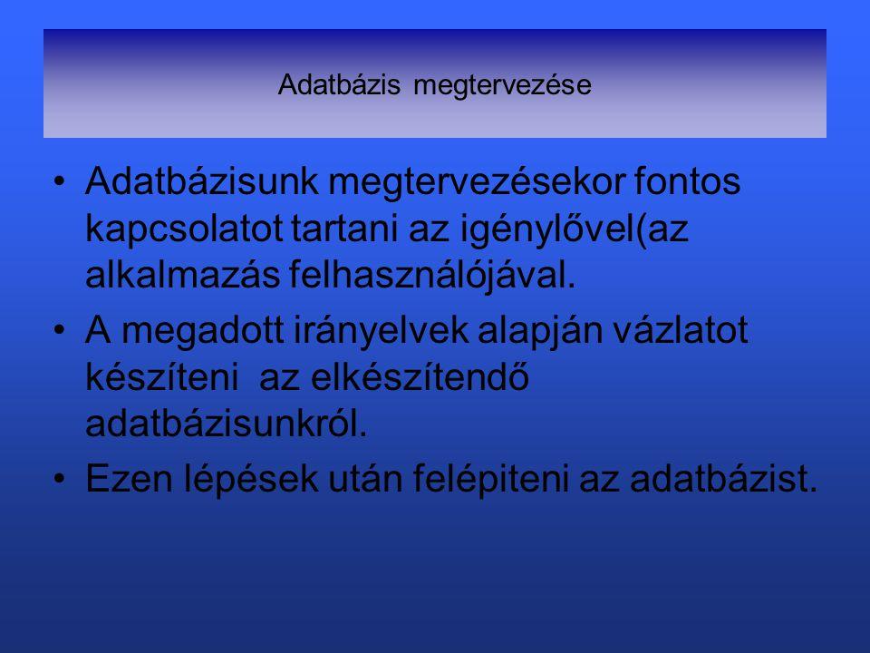 Adatbázis megtervezése Adatbázisunk megtervezésekor fontos kapcsolatot tartani az igénylővel(az alkalmazás felhasználójával.