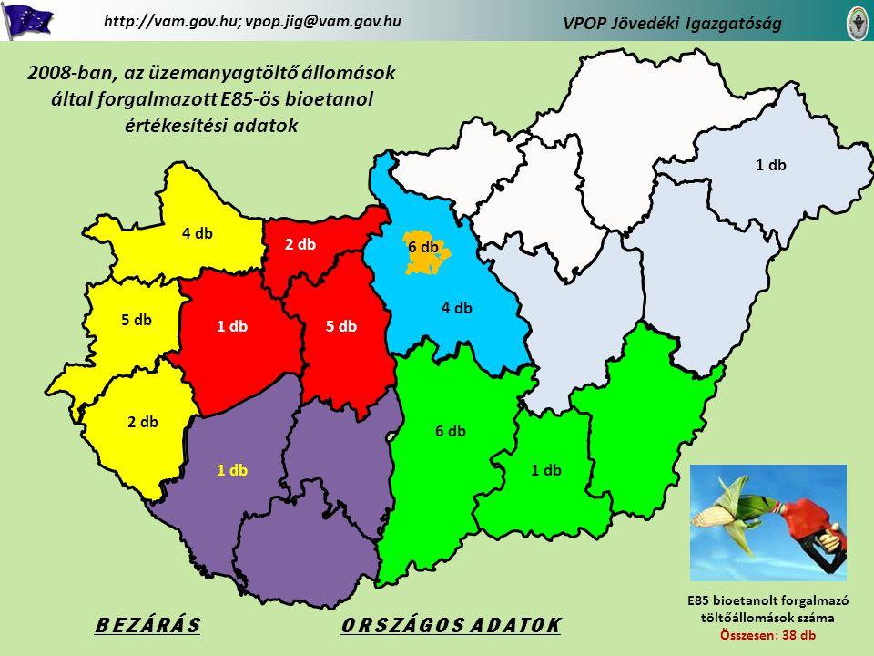 Vissza az országhoz Zala megye területén 2008-ban forgalmazott E85-ös bioetanol értékesítési adatok VPOP Jövedéki Igazgatóság http://vam.gov.hu; vpop.jig@vam.gov.hu 2 db Zala megye