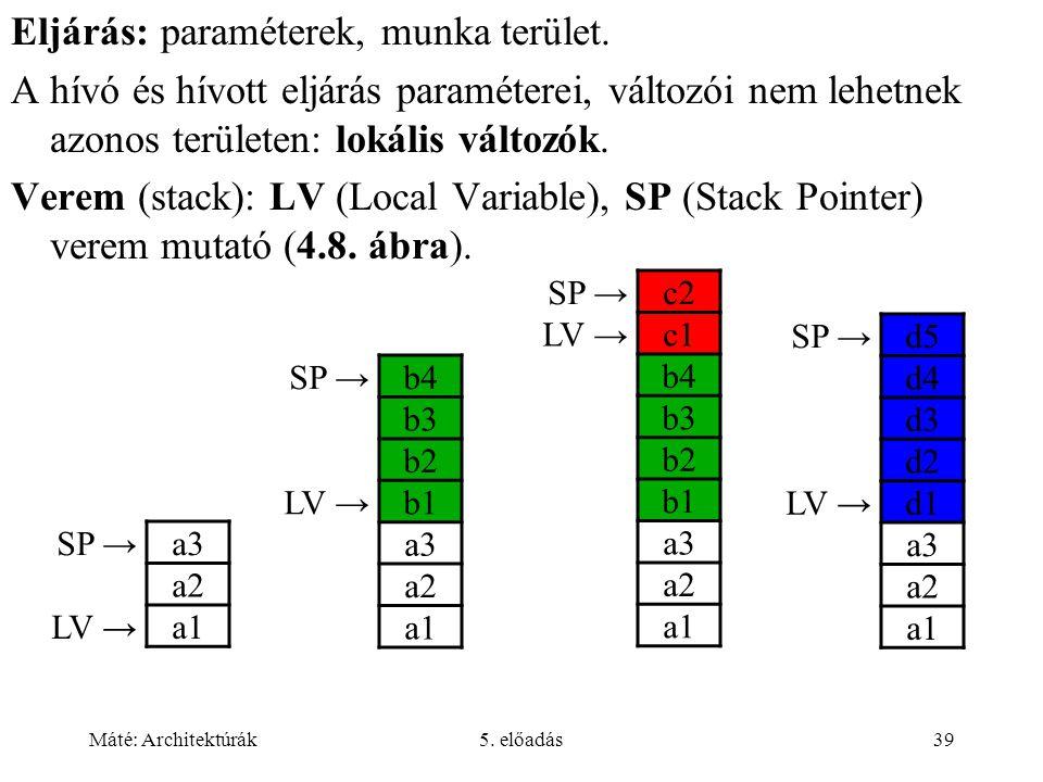 Máté: Architektúrák5.előadás39 Eljárás: paraméterek, munka terület.
