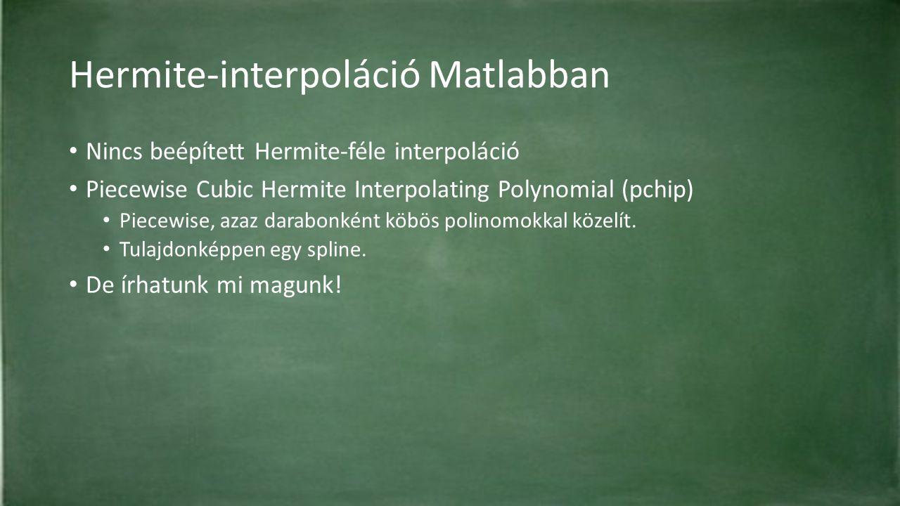 Hermite-interpoláció Matlabban Nincs beépített Hermite-féle interpoláció Piecewise Cubic Hermite Interpolating Polynomial (pchip) Piecewise, azaz dara