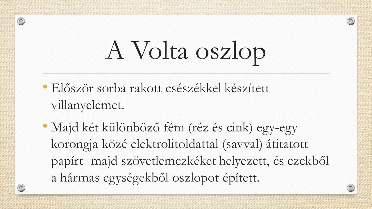 A Volta oszlop Először sorba rakott csészékkel készített villanyelemet. Majd két különböző fém (réz és cink) egy-egy korongja közé elektrolitoldattal