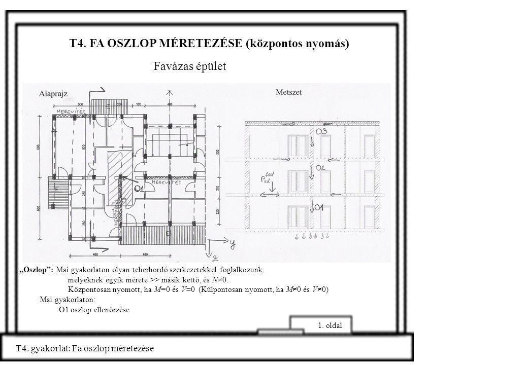 """T4. FA OSZLOP MÉRETEZÉSE (központos nyomás) T4. gyakorlat: Fa oszlop méretezése 1. oldal Mai gyakorlaton: O1 oszlop ellenőrzése Favázas épület """"Oszlop"""
