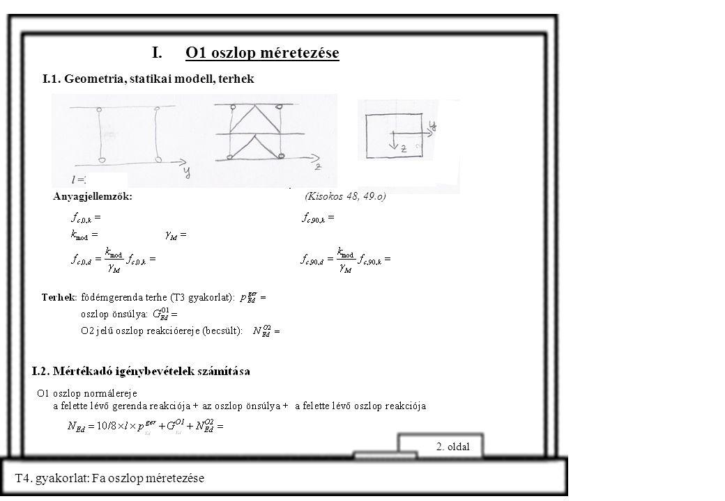 T4. gyakorlat: Fa oszlop méretezése 2. oldal I.O1 oszlop méretezése I.1. Geometria, statikai modell, terhek Anyagjellemzők: (Kisokos 48, 49.o)