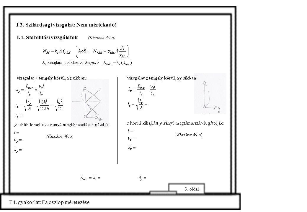 I.4. Stabilitási vizsgálatok (Kisokos 49.o) T4. gyakorlat: Fa oszlop méretezése I.3. Szilárdsági vizsgálat: Nem mértékadó! 3. oldal