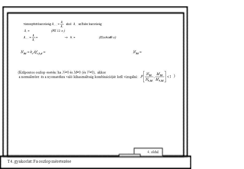 T4. gyakorlat: Fa oszlop méretezése 4. oldal (Külpontos oszlop esetén: ha N  0 és M  0 (és V  0), akkor a normálerőre és a nyomatékra való kihaszná