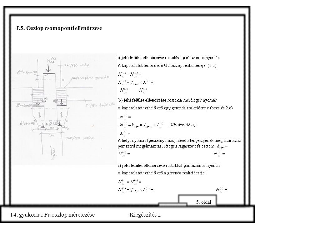 T4. gyakorlat: Fa oszlop méretezéseKiegészítés I. I.5. Oszlop csomóponti ellenőrzése 5. oldal