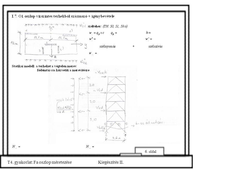 6. oldal T4. gyakorlat: Fa oszlop méretezéseKiegészítés II.