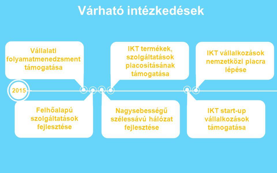Várható intézkedések 2015 Vállalati folyamatmenedzsment támogatása IKT termékek, szolgáltatások piacosításának támogatása Nagysebességű szélessávú hál