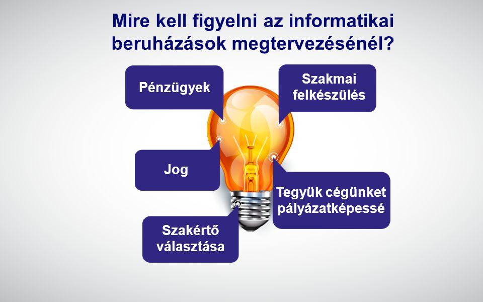 www.gwconsulting.hu Szakmai felkészülés Tegyük cégünket pályázatképessé Pénzügyek Jog Szakértő választása Mire kell figyelni az informatikai beruházás