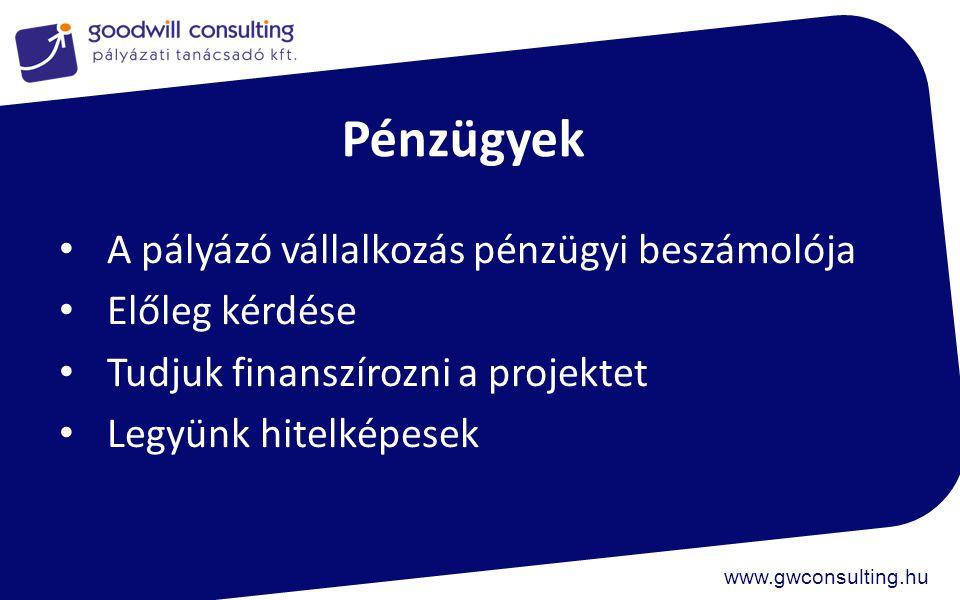 www.gwconsulting.hu Szakmai felkészülés Legyen kész szakmai koncepció Legyen kész tervezési dokumentáció, engedély Legyen projektköltségvetésünk Tervezzünk a kapacitással, legyen elég bevonható fejlesztőnk