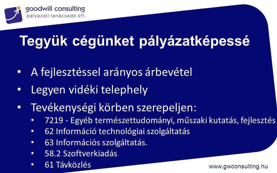 www.gwconsulting.hu Tegyük cégünket pályázatképessé A fejlesztéssel arányos árbevétel Legyen vidéki telephely Tevékenységi körben szerepeljen: 7219 -