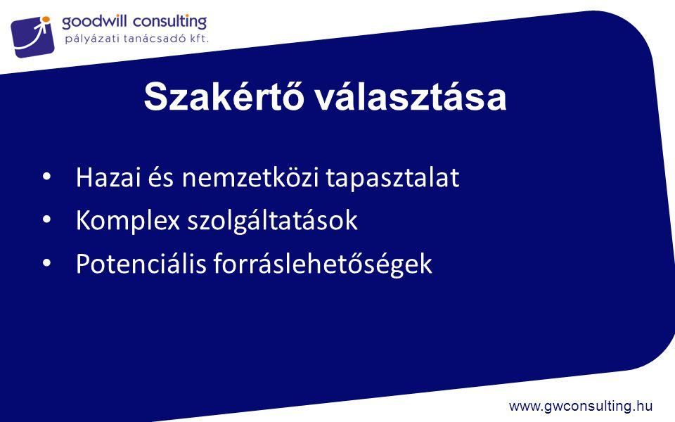 www.gwconsulting.hu Szakértő választása Hazai és nemzetközi tapasztalat Komplex szolgáltatások Potenciális forráslehetőségek