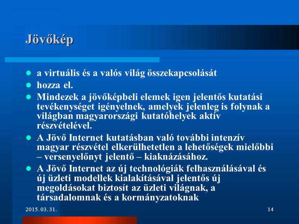 2015. 03. 31.14 Jövőkép a virtuális és a valós világ összekapcsolását hozza el. Mindezek a jövőképbeli elemek igen jelentős kutatási tevékenységet igé