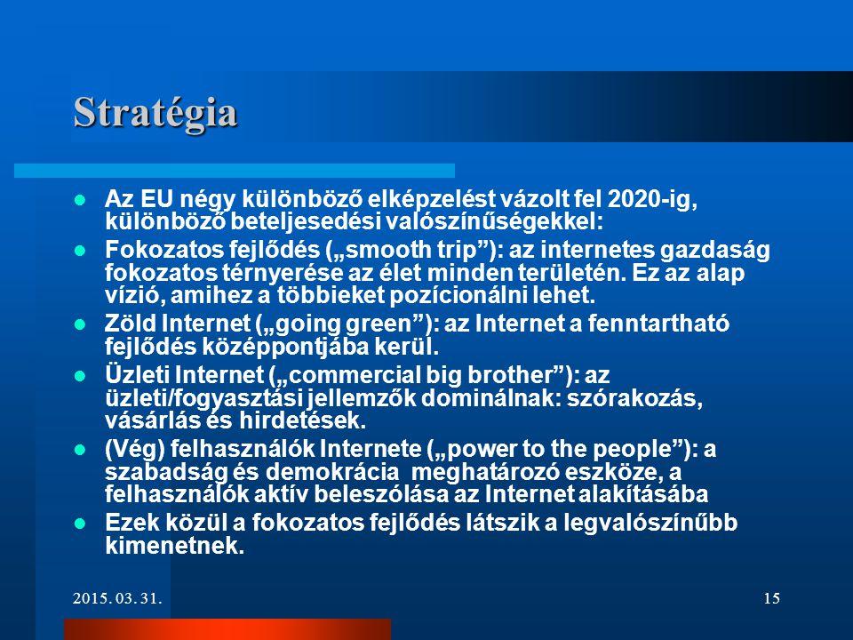 """2015. 03. 31.15 Stratégia Az EU négy különböző elképzelést vázolt fel 2020-ig, különböző beteljesedési valószínűségekkel: Fokozatos fejlődés (""""smooth"""