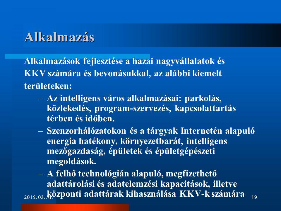 2015. 03. 31.19 Alkalmazás Alkalmazások fejlesztése a hazai nagyvállalatok és KKV számára és bevonásukkal, az alábbi kiemelt területeken: –Az intellig