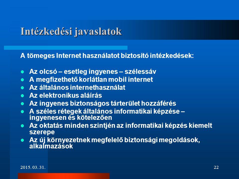 2015. 03. 31.22 Intézkedési javaslatok A tömeges Internet használatot biztosító intézkedések: Az olcsó – esetleg ingyenes – szélessáv A megfizethető k