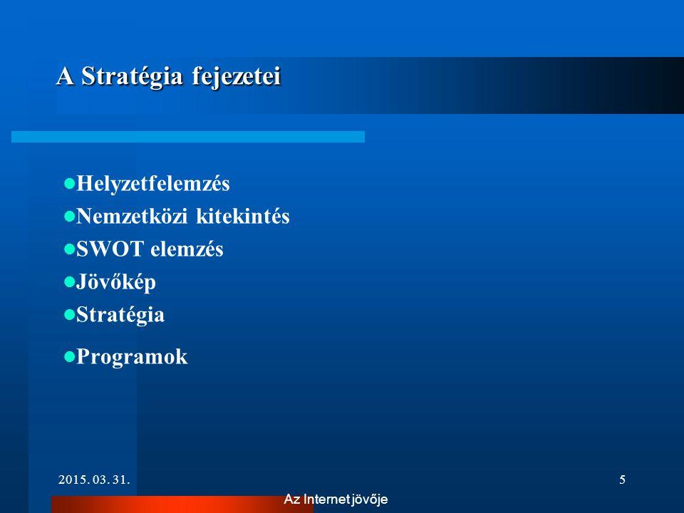 2015. 03. 31.5 Az Internet jövője A Stratégia fejezetei A Stratégia fejezetei Helyzetfelemzés Nemzetközi kitekintés SWOT elemzés Jövőkép Stratégia Pro