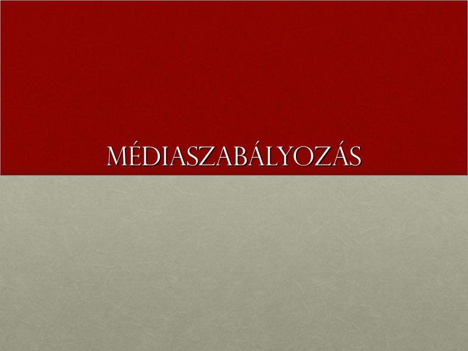 Médiaszabályozás 1990-1996 Médiaháború (1990-1994) (  Haraszti M.: két médiaháború, 2.: 1998-2002)Médiaháború (1990-1994) (  Haraszti M.: két médiaháború, 2.: 1998-2002) 37/1992.