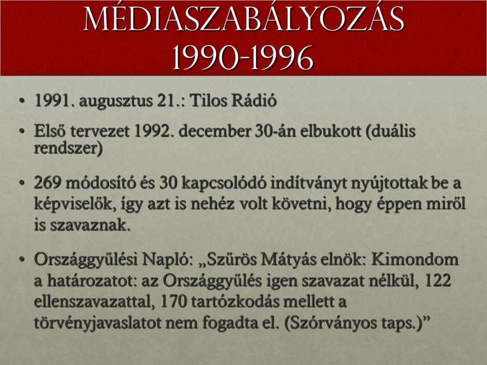Médiaszabályozás 1990-1996 1991. augusztus 21.: Tilos Rádió1991.
