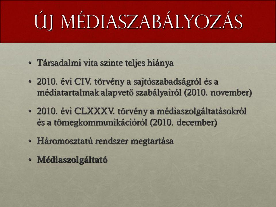 Új médiaszabályozás Társadalmi vita szinte teljes hiányaTársadalmi vita szinte teljes hiánya 2010.
