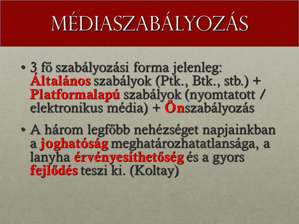Médiaszabályozás 3 f ő szabályozási forma jelenleg: Általános szabályok (Ptk., Btk., stb.) + Platformalapú szabályok (nyomtatott / elektronikus média) + Ön szabályozás3 f ő szabályozási forma jelenleg: Általános szabályok (Ptk., Btk., stb.) + Platformalapú szabályok (nyomtatott / elektronikus média) + Ön szabályozás A három legf ő bb nehézséget napjainkban a joghatóság meghatározhatatlansága, a lanyha érvényesíthet ő ség és a gyors fejl ő dés teszi ki.