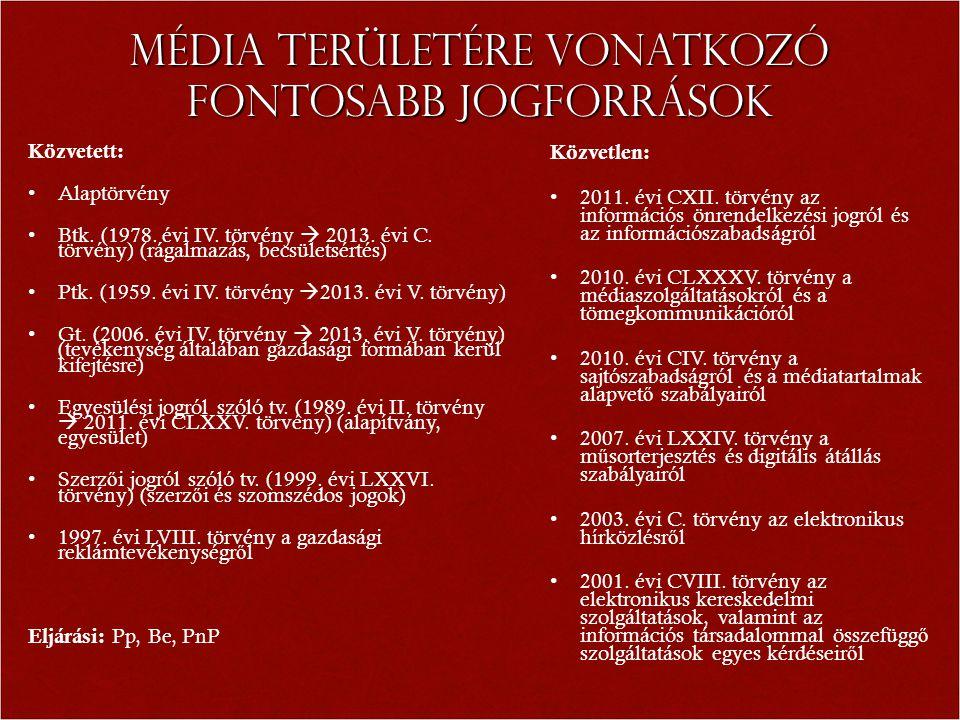 Média területére vonatkozó fontosabb jogforrások Közvetett: Alaptörvény Btk.
