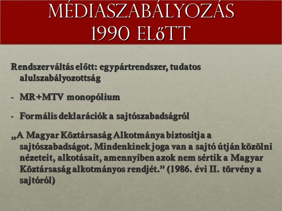 """Médiaszabályozás 1990 el ő tt Rendszerváltás el ő tt: egypártrendszer, tudatos alulszabályozottság - MR+MTV monopólium - Formális deklarációk a sajtószabadságról """"A Magyar Köztársaság Alkotmánya biztosítja a sajtószabadságot."""