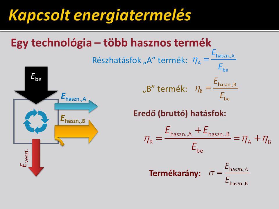 """Egy technológia – több hasznos termék E be E veszt. E haszn.,A E haszn.,B Részhatásfok """"A"""" termék: """"B"""" termék: Eredő (bruttó) hatásfok: Termékarány:"""