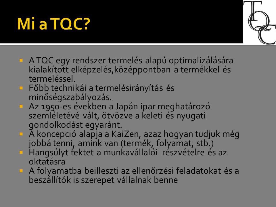  A TQC egy rendszer termelés alapú optimalizálására kialakított elképzelés,középpontban a termékkel és termeléssel.  Főbb technikái a termelésirányí