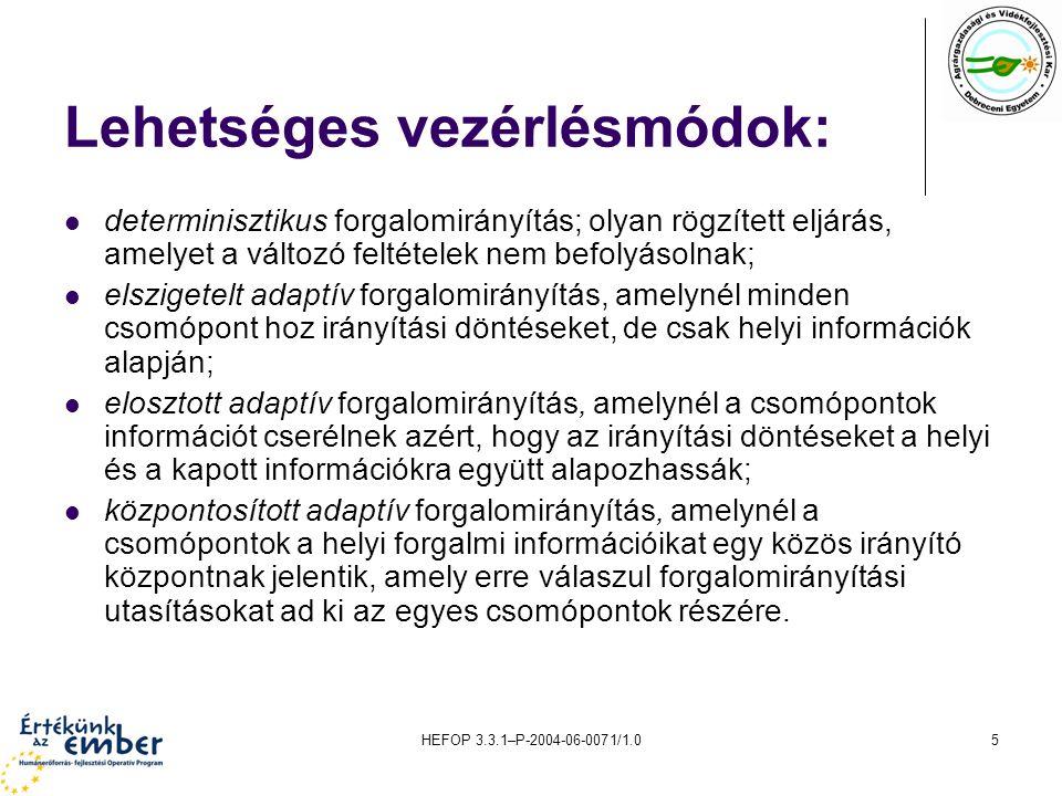 HEFOP 3.3.1–P-2004-06-0071/1.05 Lehetséges vezérlésmódok: determinisztikus forgalomirányítás; olyan rögzített eljárás, amelyet a változó feltételek ne